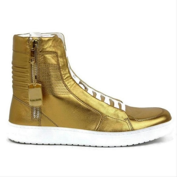 Gucci Other - Gucci Gold Leather High-top Sneakers 376193